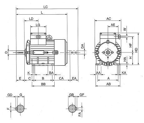 Plano de dimensiones motor electrico B3
