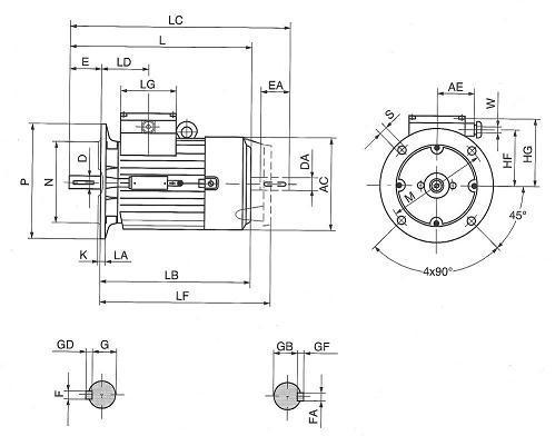 Plano dimensiones motor electrico B5